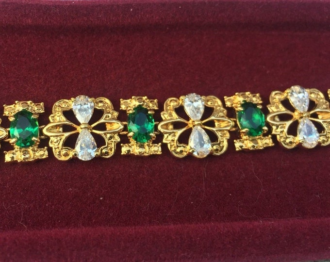 Jackie Kennedy Bracelet -  Emerald and Crystal - Size 7.5 with Box and Certificate  - S187