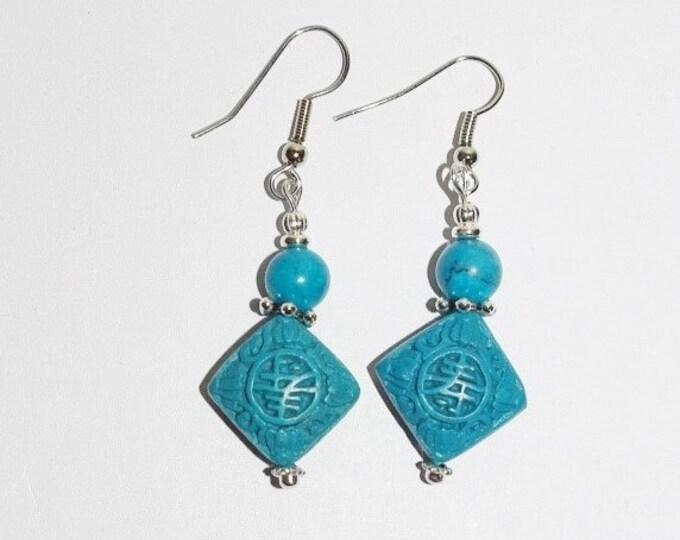 Cinnabar Pierced  Earrings - Blue  - S327