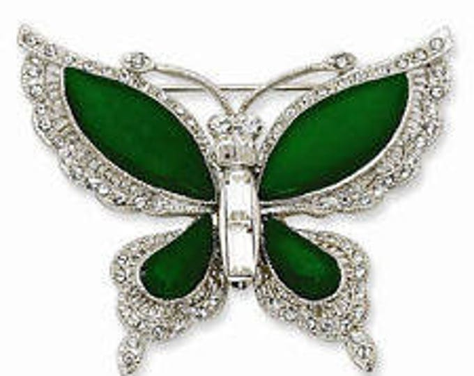 Jackie Kennedy Brooch - Butterfly Silver and Green with Crystals and Certificate - 46