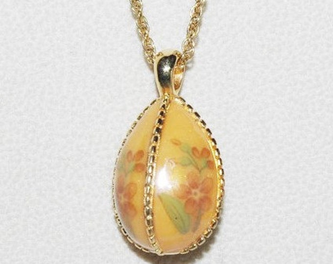 Joan Rivers Orange Flower Egg Necklace - S1812