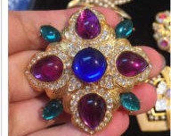 Joan Rivers Brooch Purple Green and Blue - S1866