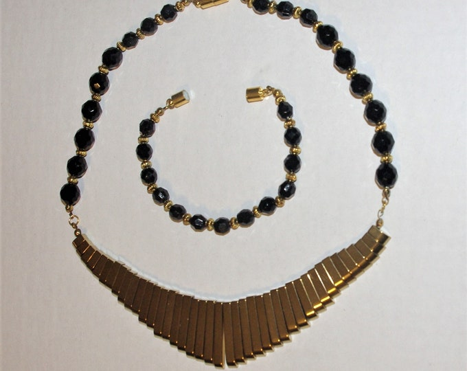 Hematite Necklace - Black and Gold - One of a Kind - S3061
