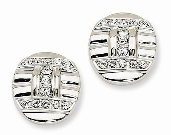 Jackie Kennedy Pierced Earrings Silver with Simulated Diamonds - #235