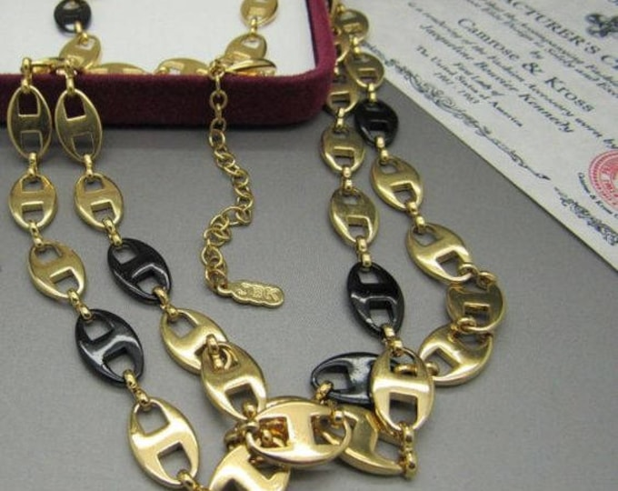 2 Jackie Kennedy Necklaces - Black and Gold with Certificate