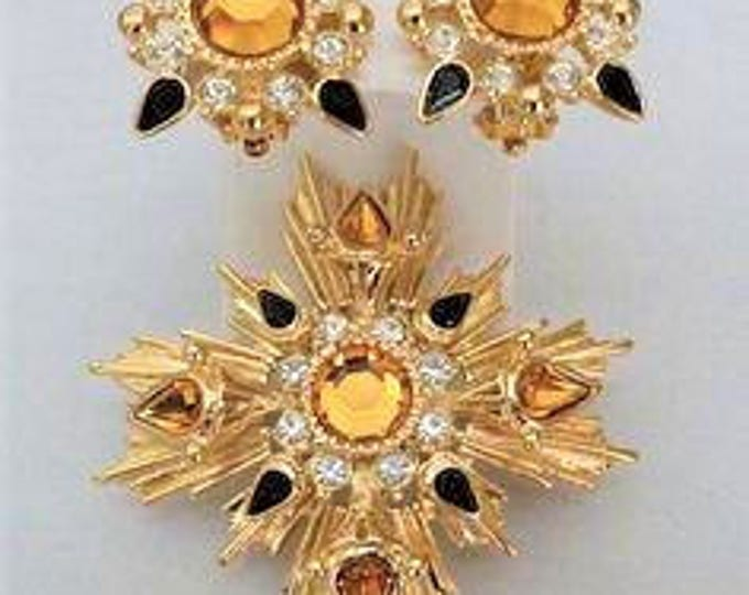 Joan Rivers Golden Topaz Pin and Clip On Earrings - S2186