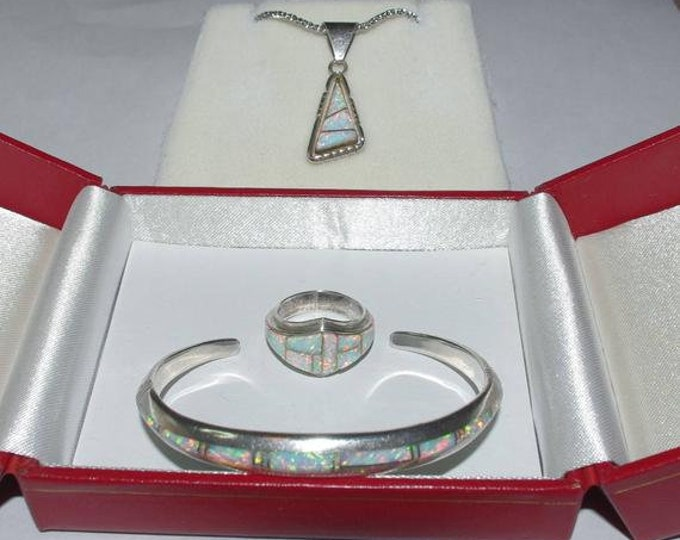 Sterling Silver and Opal Jewelry Set - TMS1