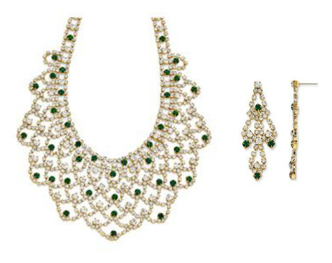 Jackie Kennedy Jewelry SET - Emerald Bib Necklace & Earrings with Certificate