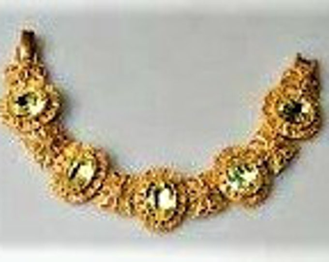 Jackie Kennedy Empress Eugenie Bracelet - Brushed Gold with Stones - 318 tms1