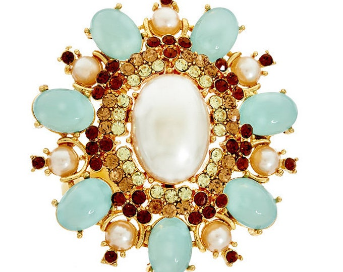 Joan Rivers Large Green Brooch - S2290