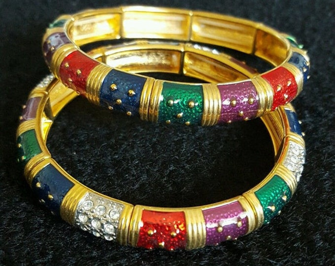 Set of 2 Joan Rivers Multi Color Stretch Bracelets - S1924
