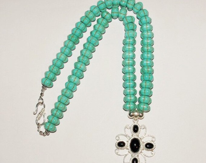 Turquoise Necklace with Black Onyx Pendant - S2375