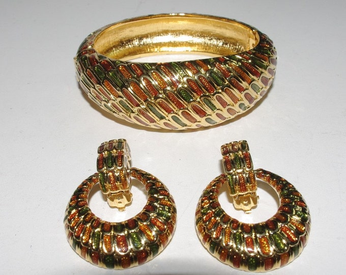 Joan Rivers Brown and Green Bracelet and Clip On Earrings  - S1531