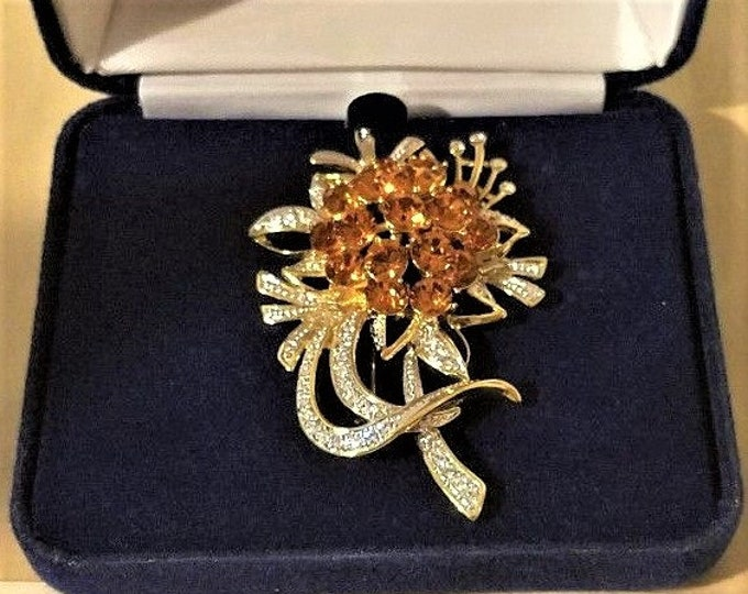Jackie Kennedy Flower Brooch Pendant - Topaz with Crystals, Box and Certificate - #283