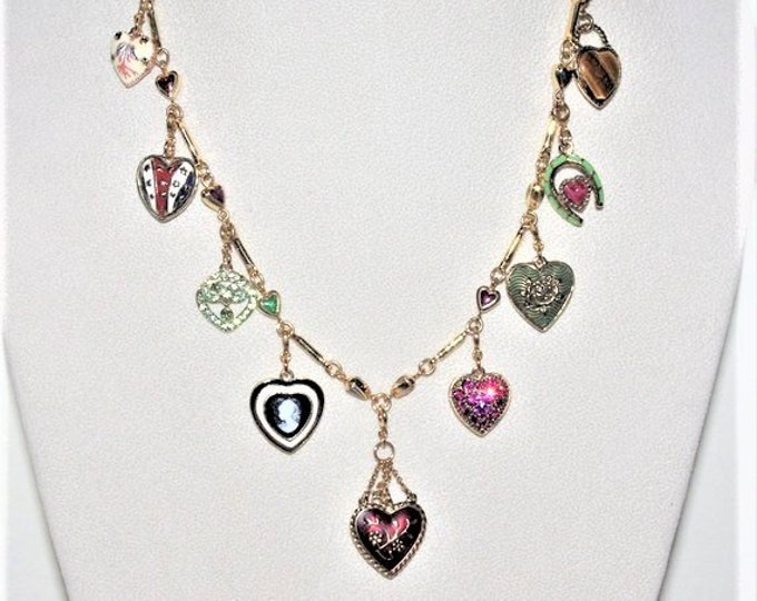 Joan Rivers Charm Necklace - Love, Luck & Hope with 9 Charms