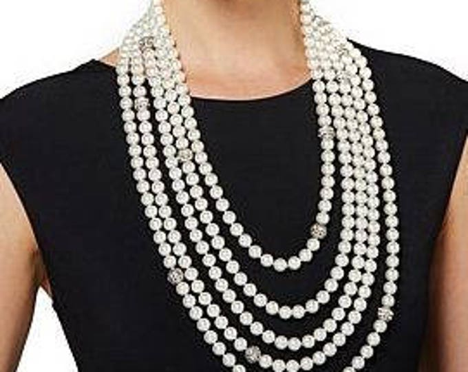 Audrey Hepburn Necklace - Pearl Multi Strand 25.5 Inches Long