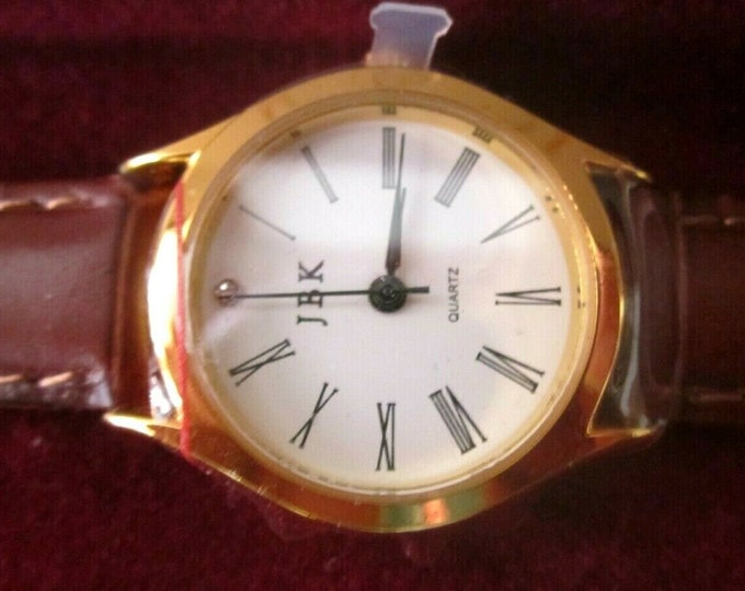 Jackie Kennedy Watch - Gold with Brown Watchband, Box and Certificate - Plus New Battery