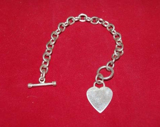 Silver Plated Heart Charm Bracelet Size 7.5 - TMS1