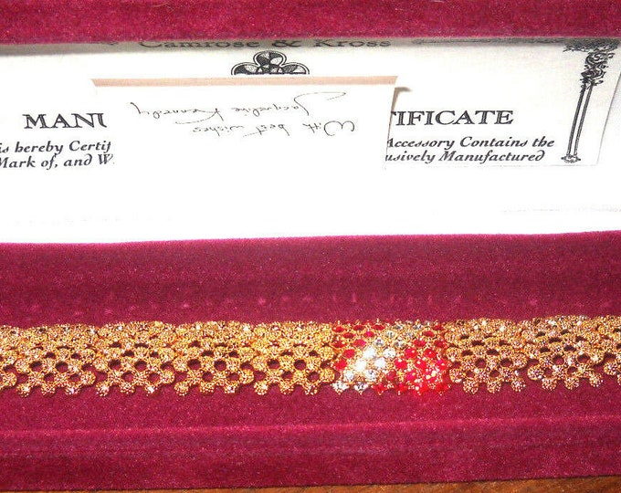 Jackie Kennedy Bracelet - Gold with Red and Clear Stones and Certificate Size 7 or 8 - 177