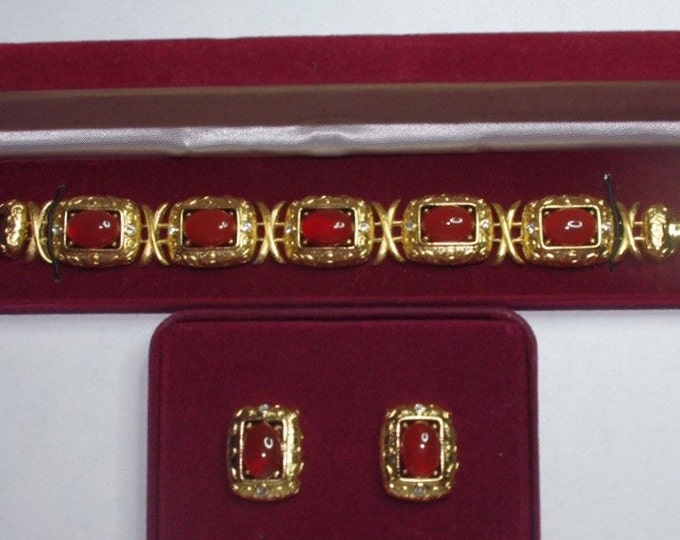 Jackie Kennedy Jewelry SET - Carnelian Bracelet and Earrings with Certificate