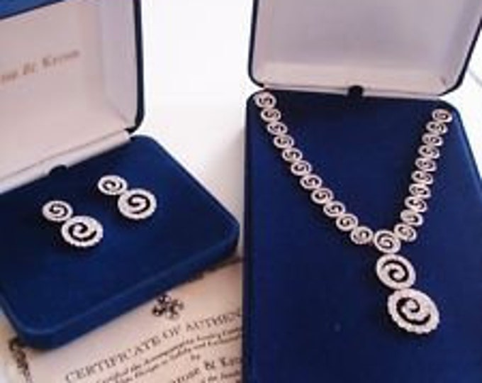 Jackie Kennedy Jewelry Set - Crystal Swirl Design with Certificate