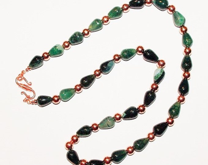 Gemstone Necklace - Blue and Green Dragon Veins Agate - S246