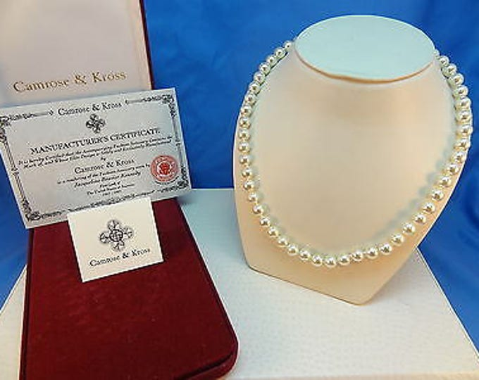 Jackie Kennedy Single Strand Pearl Necklace with Certificate