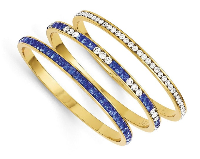 Jackie Kennedy Bangle Set - Silver with Blue and Clear Stones - No. 262