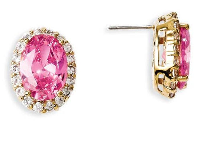 Jackie Kennedy Pink Pierced Earrings - Gold Plated with Stones  - 273