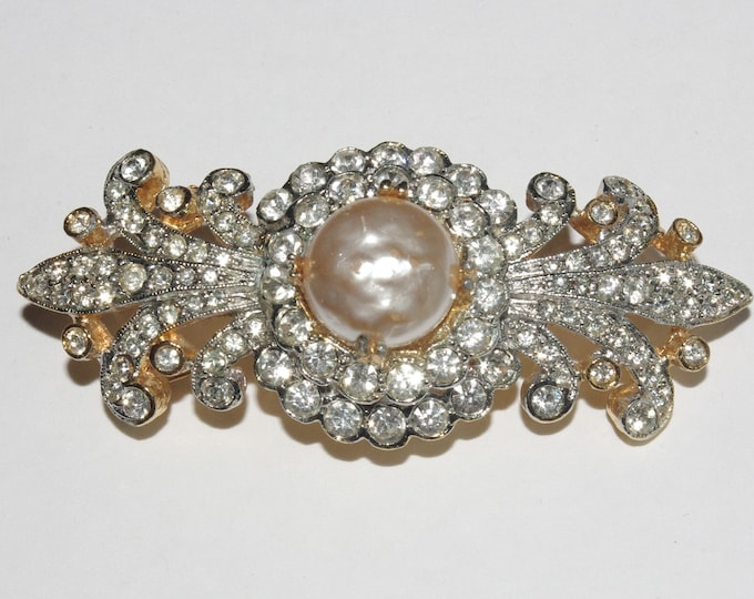 Kenneth Lane Mabe Pearl and Crystal Brooch - S2439