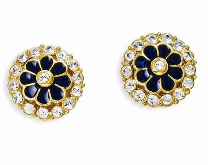 Jackie Kennedy Grand Tour Earrings - Navy Blue with Stones - #257