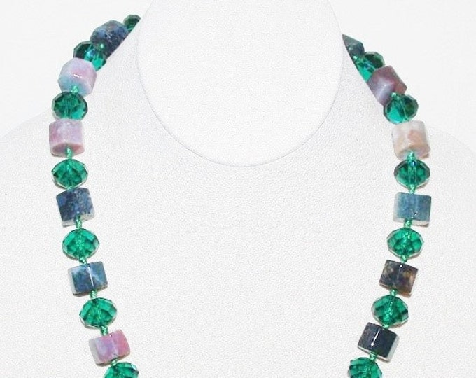 Gemstone and Glass Beaded Necklace - S2356