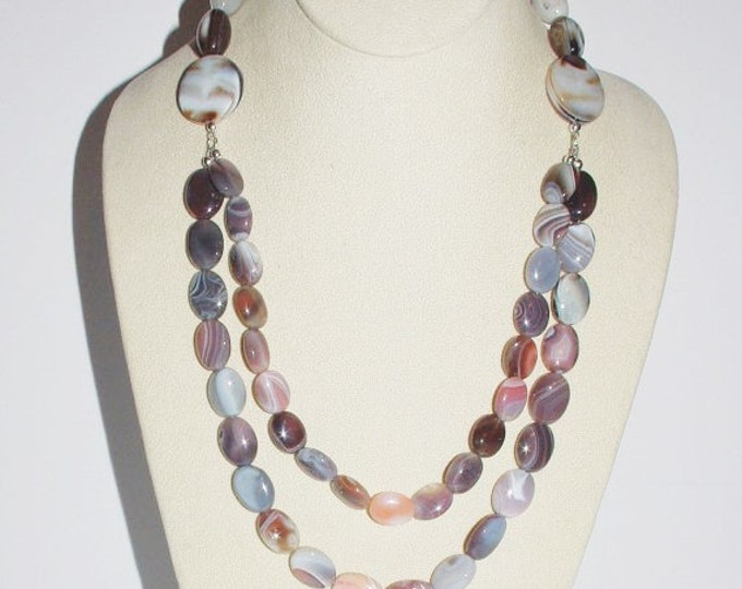 925 Natural Agate Gemstone Necklace - S2349