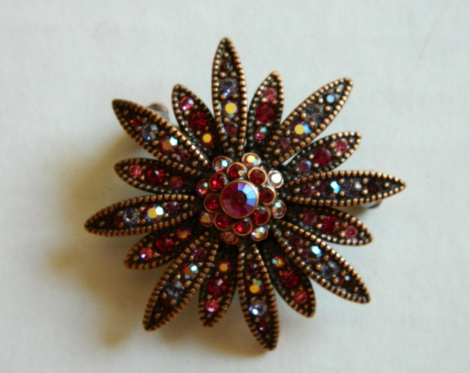 Joan Rivers Daisy Brooch - Large Daisy Flower inRed and  Bronze - S3220