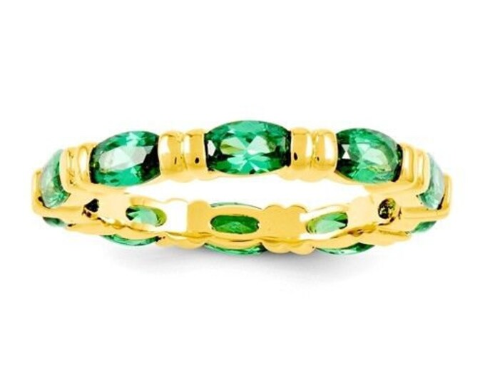 Jackie Kennedy Ring - 10th Anniversary Band - 24K GP with Green Simulated Emeralds