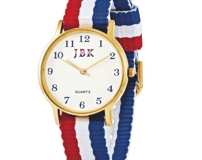 Jackie Kennedy Watch with Red White and Blue Watchband