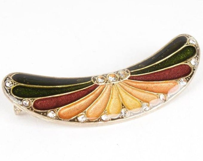 Silver and Enamel Art Deco Wing-Shaped Brooch - TMS1