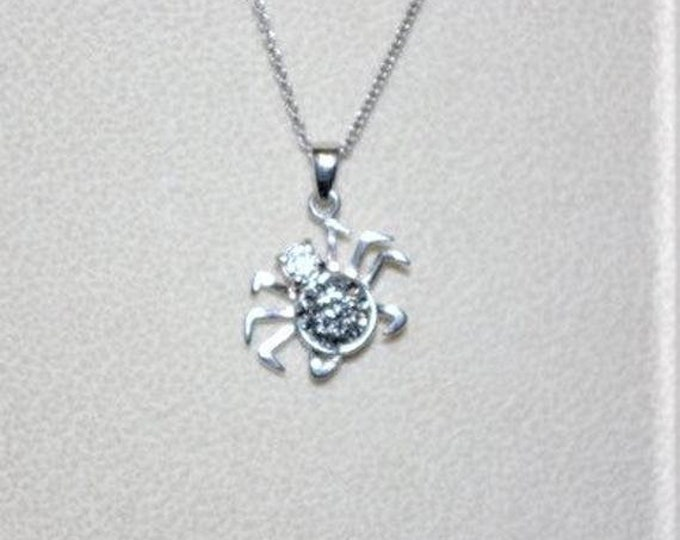 Sterling Silver Zodiac Necklace with Crab Pendant - TMS1