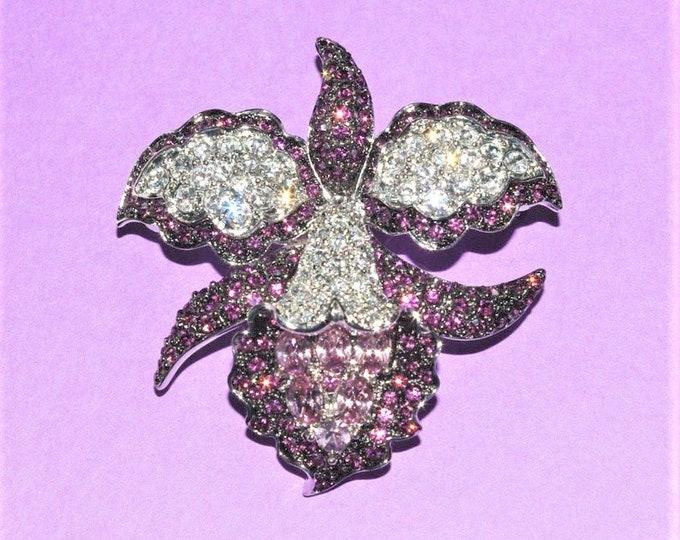 Nolan Miller Crystal Purple Orchid Brooch - S1556