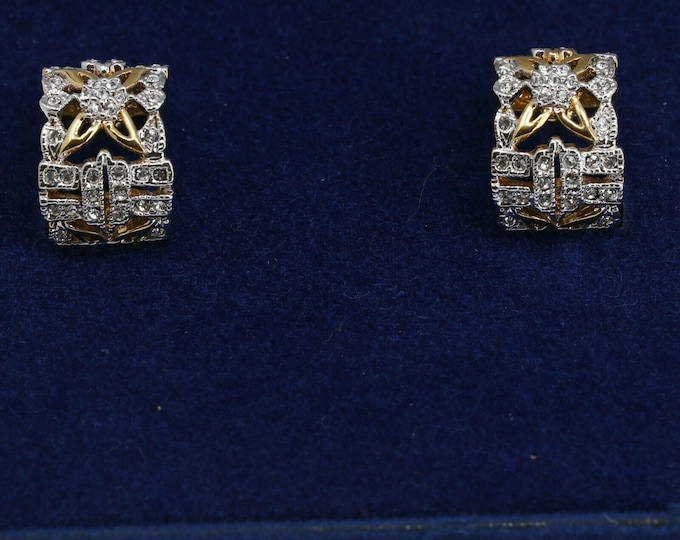Jackie Kennedy Earrings - Silver and Simulated Sapphires - Clip-ons - #186