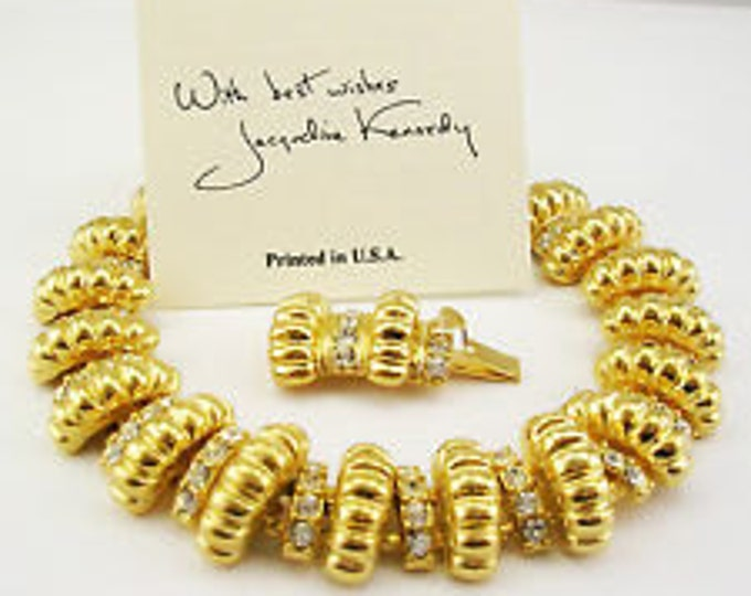 Jackie Kennedy SIGNATURE BRACELET - Gold Plated with Crystals - Sizes 6.5 and 7.5 - #63