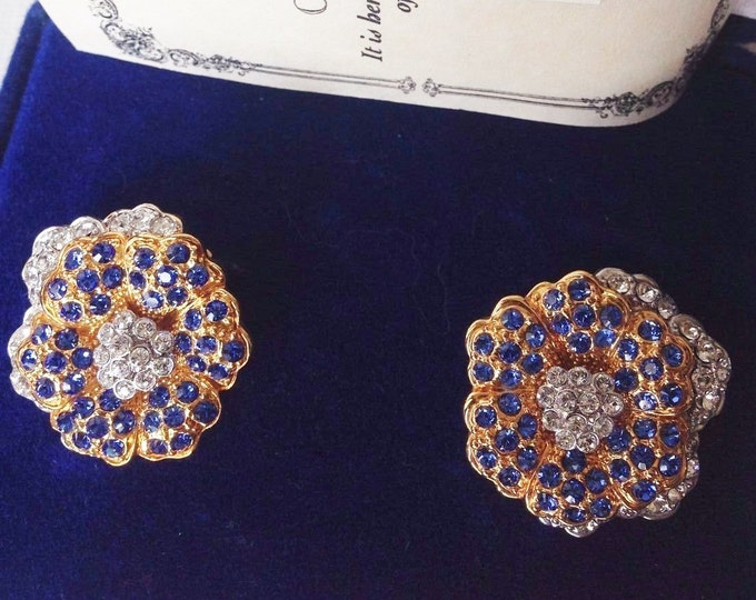 Jackie Kennedy Empress Earrings - Blue Crystal Flowers and Certificate - Clip On - 175