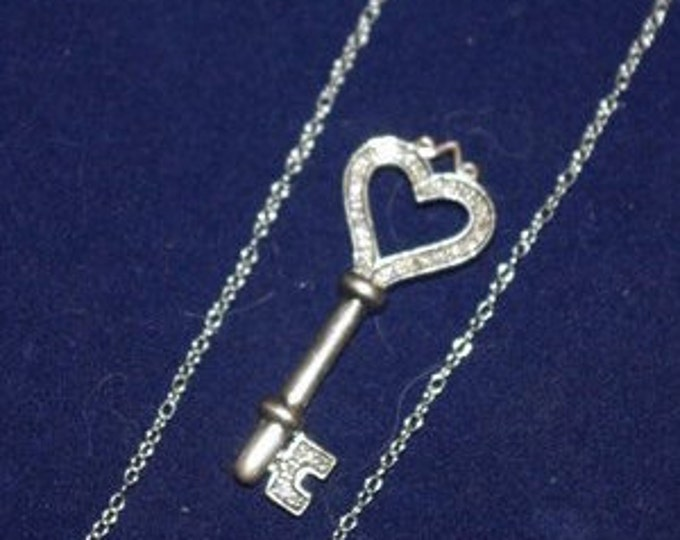 925 Diamond Necklace with Heart Key Pendant - TMS1