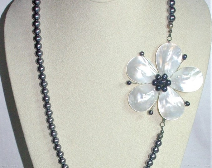 Gray Pearl Necklace with Mother of Pearl Pin Pendant OOAK - S3060