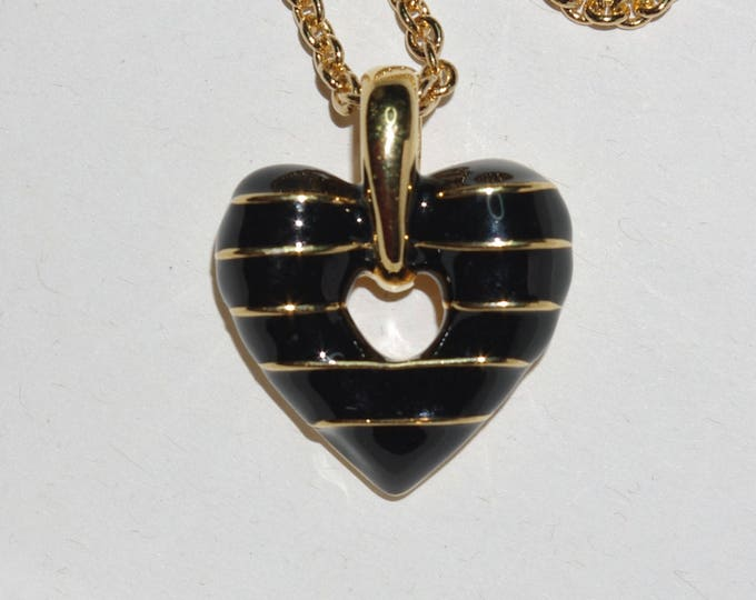 Joan Rivers Black & Gold Heart Necklace Reversible - S2266