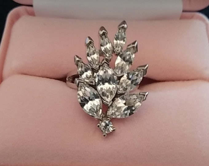 Audrey Hepburn Ring - Silver with Crystal Stones