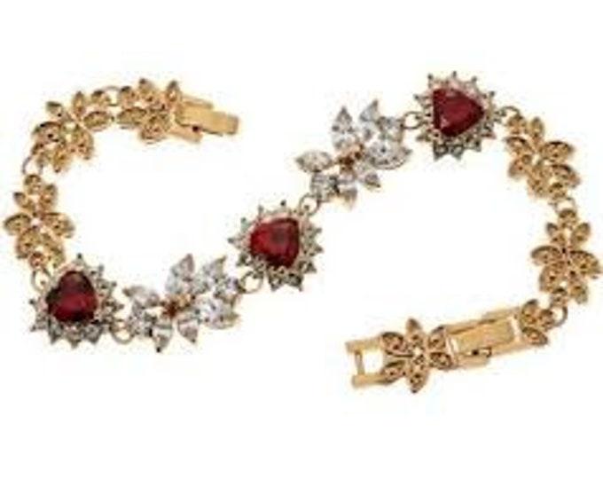 Grace Kelly Heart Bracelet - Simulated Rubies and Diamonds  #240