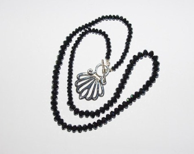 Indigo Blue Necklace with Faceted Glass Beads and Fancy Clasp - S196
