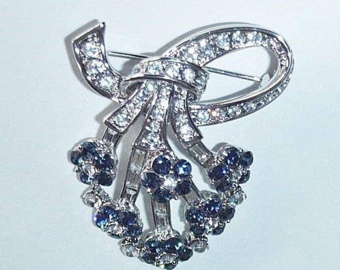 Jackie Kennedy Sapphire Brooch - Silver with Blue Stones - 156 + 1