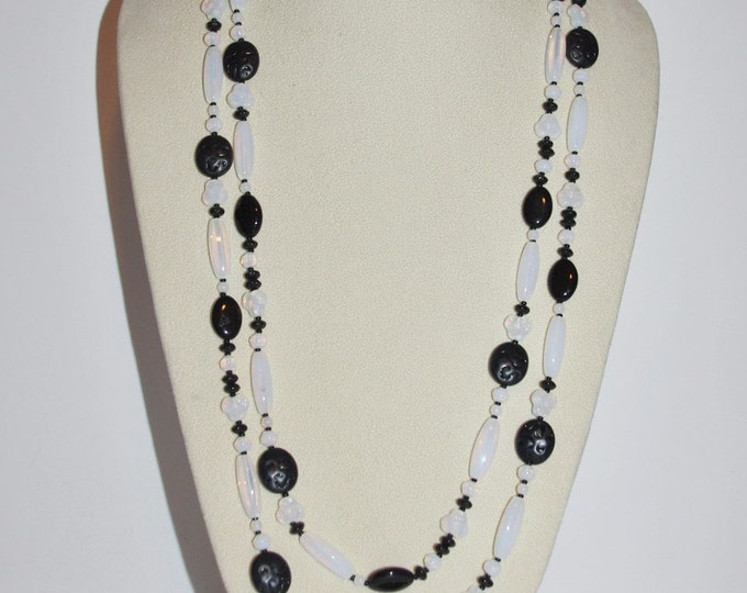 Joan Rivers Necklace - Long Black and White Beaded Necklace - S1094