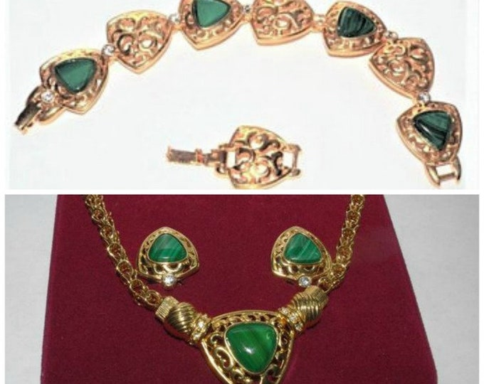 Jackie Kennedy Jewelry SET - 3 Pieces Green and Gold with Certificate